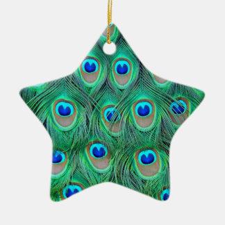 peacock animal print - feathers christmas ornament