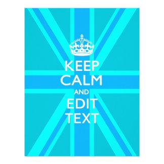Peacock Aqua Keep Calm And Your Text Union Jack 21.5 Cm X 28 Cm Flyer
