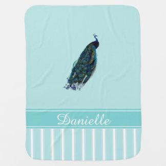 Peacock Aqua Personalized Baby Blanket