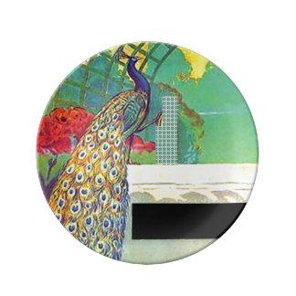 Peacock Art Deco Plate
