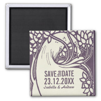 Peacock art deco violet and ivory save the date square magnet