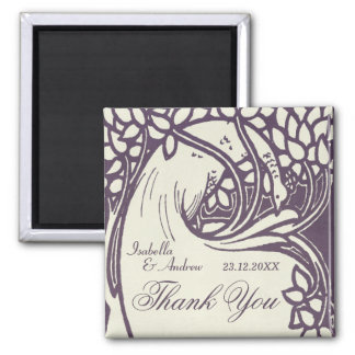 Peacock art deco violet and ivory thank you magnet