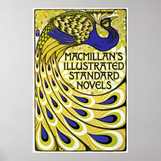 Peacock Art Nouveau Poster Print - Vintage