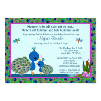 Peacock Baby Shower invitations Girls Boys #206
