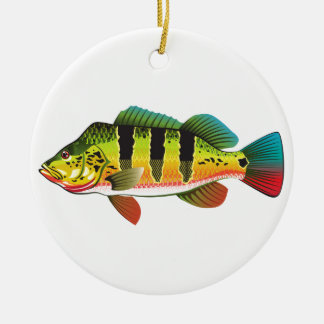Peacock Bass bright Ocean Gamefish illustration Christmas Ornament