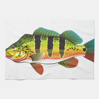 Peacock Bass bright Ocean Gamefish illustration Tea Towel