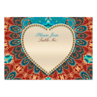 Peacock Batik Aqua Gold Wedding Table Seat Cards Pack Of Chubby Business Cards