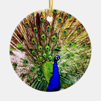 Peacock Beautiful Green Bird Animal Royal Luxury S Round Ceramic Decoration