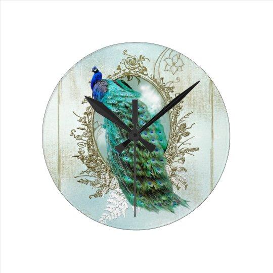 peacock beautiful turquoise vintage shabby bird round clock