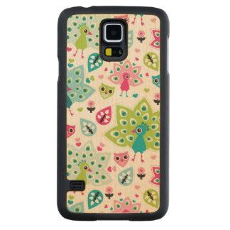 peacock bird and owl maple galaxy s5 case