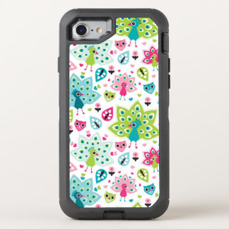 peacock bird and owl OtterBox defender iPhone 8/7 case