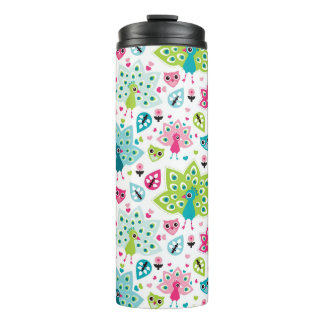 peacock bird and owl thermal tumbler
