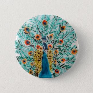 Peacock Bird Art 6 Cm Round Badge