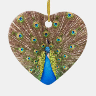 Peacock bird blue feathers photo hanging ornament