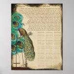 Peacock Bird Cage Print Quaker Wedding Certificate