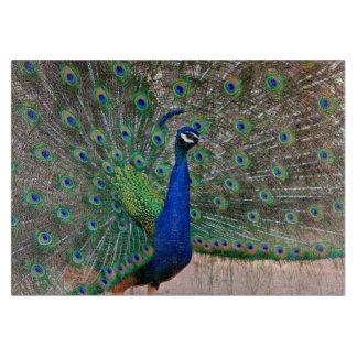 Peacock bird display cutting board
