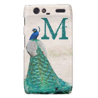 Peacock Bird Feather Monogram Motorola Razr Cas Motorola Droid RAZR Cover