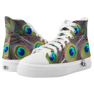 Peacock Bird Feathers Design High Top Tennis Shoes Printed Shoes