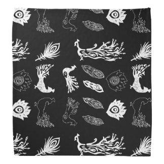Peacock/bird feathers drawing – chalkboard look bandana