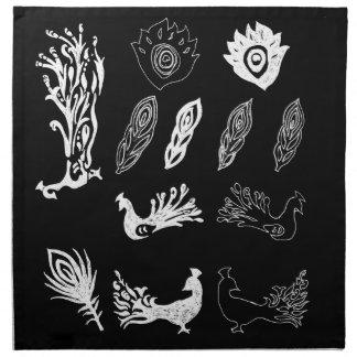 Peacock/bird feathers drawing – chalkboard look cloth napkin