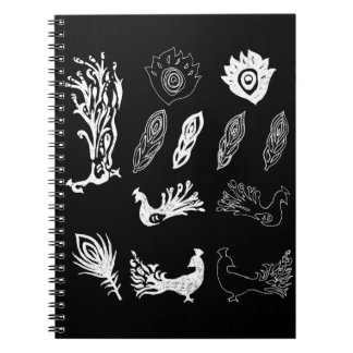 Peacock/bird feathers drawing – chalkboard look note book