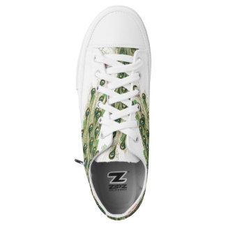 Peacock Bird Feathers Zipz Sneakers Shoes