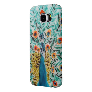 Peacock Bird Painting feathers artwork Samsung Galaxy S6 Cases