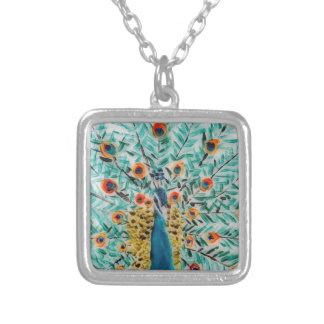 Peacock Bird Painting Silver Plated Necklace