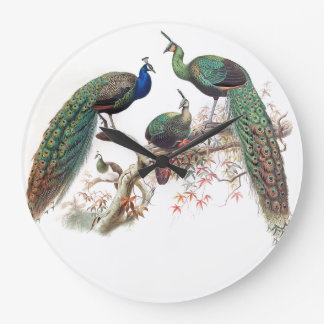 Peacock Birds Wildlife Animals Wall Clock