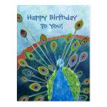 Peacock Birthday Postcard