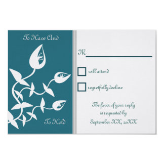 Peacock Blue and Grey Calla Lily Wedding RSVP Personalized Announcements