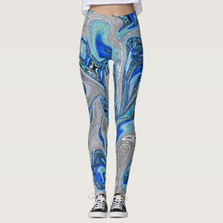 Peacock Blue and Silver Marbled Abstract Leggings