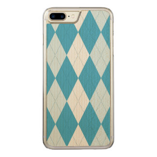 Peacock Blue Argyle Small Diamond Shape Carved iPhone 8 Plus/7 Plus Case