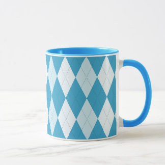 Peacock Blue Argyle Small Diamond Shape Mug