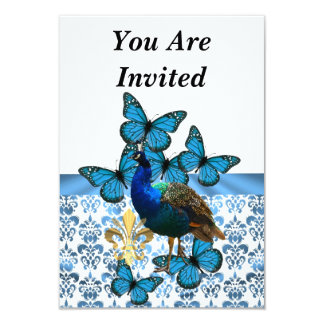 Peacock & blue butterflies card