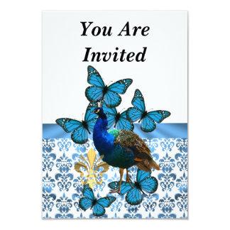 Peacock & blue butterflies 9 cm x 13 cm invitation card