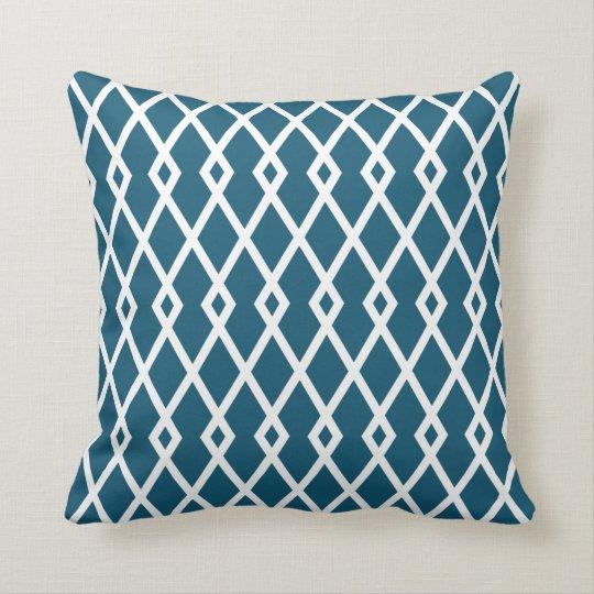 Peacock Blue Diamond Trellis Pillow
