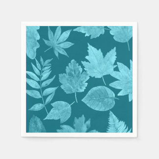 Peacock Blue fall leaf pattern, custom color avail Disposable Napkin