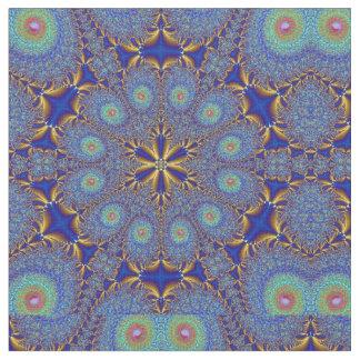 Peacock Blue Gold Geometric Fabric