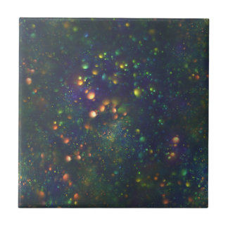 Peacock Blue Green Galactic Glitter Small Square Tile