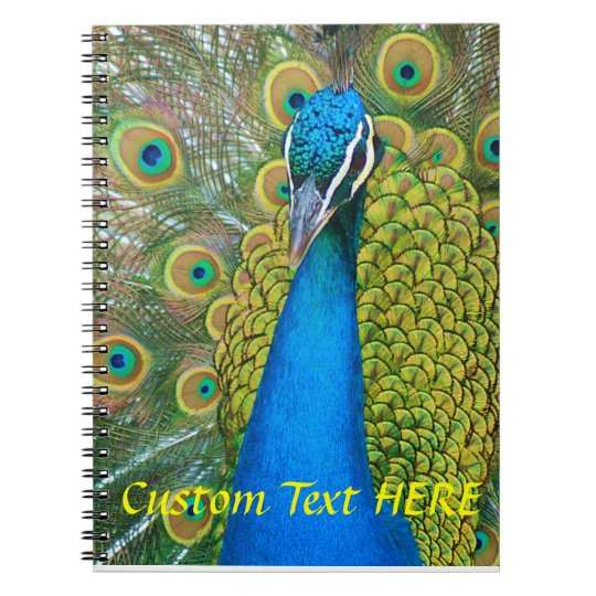 Peacock Blue Head with and Colourful Tail Feathers Spiral Notebook