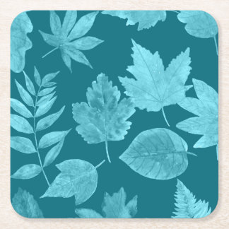 Peacock Blue leaves, fall cocktail party idea Square Paper Coaster