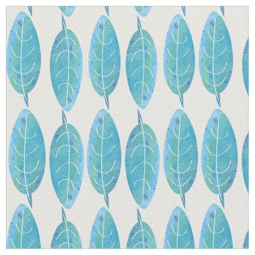 Peacock blue modern watercolor leaf design fabric