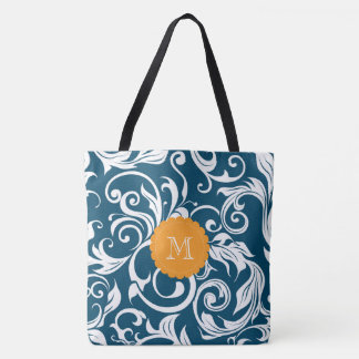 Peacock Blue Orange Floral Wallpaper Monogram Tote Bag