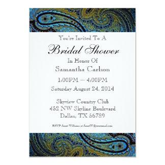 Peacock Blue Paisley Bridal Shower 13 Cm X 18 Cm Invitation Card