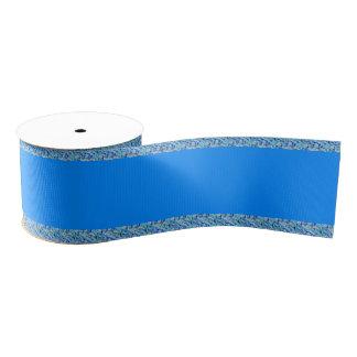Peacock Blue Patterned Grosgrain Ribbon