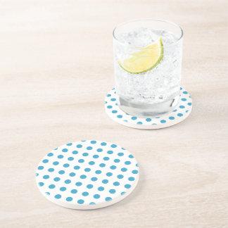Peacock Blue Polka Dots Circles Drink Coasters