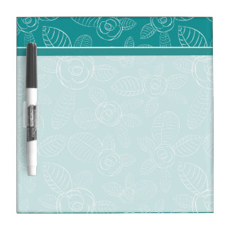 Peacock Blue Roses Dry Erase Board