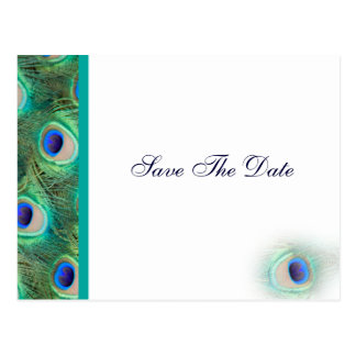 peacock blue Save the Date Post Card