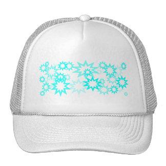 Peacock Blue Stars Mesh Hats